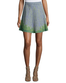 Beaded Jacquard A-Line Skirt, Sky Blue