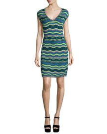 Star-Striped Sheath Dress, Teal