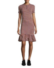 Lotus Check Stretch Flounce-Hem Dress