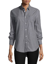 Flannel Button-Down Shirt, Gray