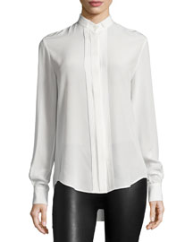 Ambrosie Pleated-Front Silk Shirt, Ivory