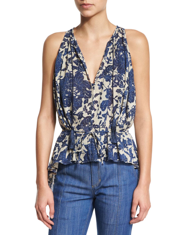 Derek Lam 10 Crosby Sleeveless Shirred Floral Blouse, Birch/Denim (Brown/Blue), Size: 0