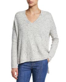 Speckled Cashmere V-Neck Sweater, Gray Melange