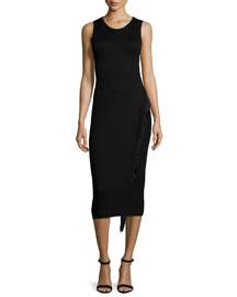 Sleeveless Fringe-Detail Midi Dress, Black