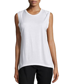 Sleeveless Draped Back Tank, White