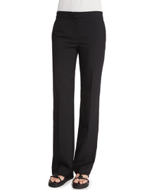 Gabardine Wool Flare-Leg Pants, Black