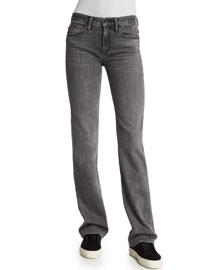 Flare-Leg Denim Jeans, Light Gray