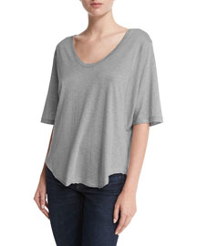 Wide-Sleeve Scoop-Neck T-Shirt