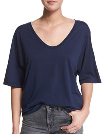 Wide-Sleeve Scoop-Neck Tee, Indigo