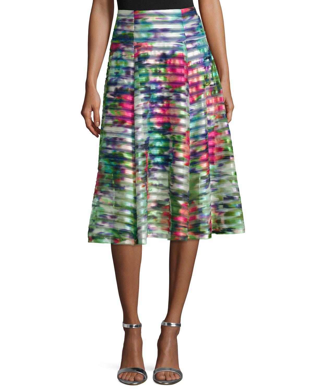 Nanette Lepore Floral-Print Striped A-line Skirt, Size: 2, Multi