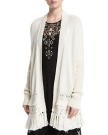 Pointelle Cardigan with Tassel Hem