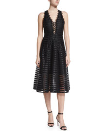 Lace-Up Mesh Midi Dress