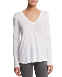 Long-Sleeve Scoop-Neck Top, Optic White