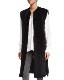 Long Shearling Fur Vest, Navy