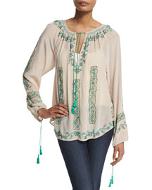 Saveria Long-Sleeve Embroidered Top, Driftwood