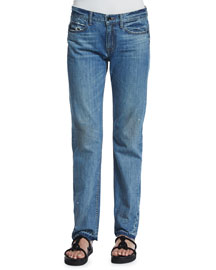 Relaxed Raw-Edge Jeans, Light Blue