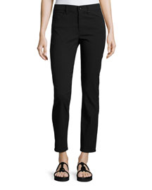 Skinny Mid-Rise Ankle Jeans, Black