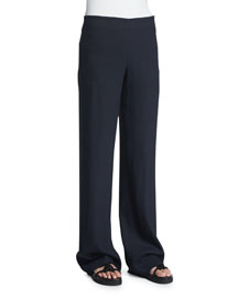 70s Crepe Wide-Leg Pants, Navy