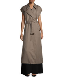 Long Cotton-Blend Trench Vest, Army Green