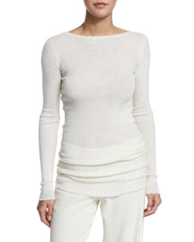 Cashmere Raw-Edge Pullover Sweater, Ivory