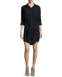 The Twist Button-Front Shirtdress, Black