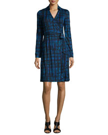 Long-Sleeve Plaid Wrap Dress