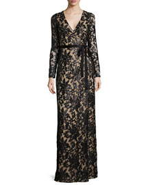 Long-Sleeve Shimmery Lace Wrap Maxi Dress
