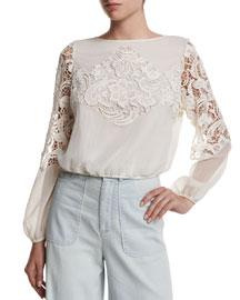 Jenelle Long-Sleeve Lace-Trim Plisse Blouse, Cream