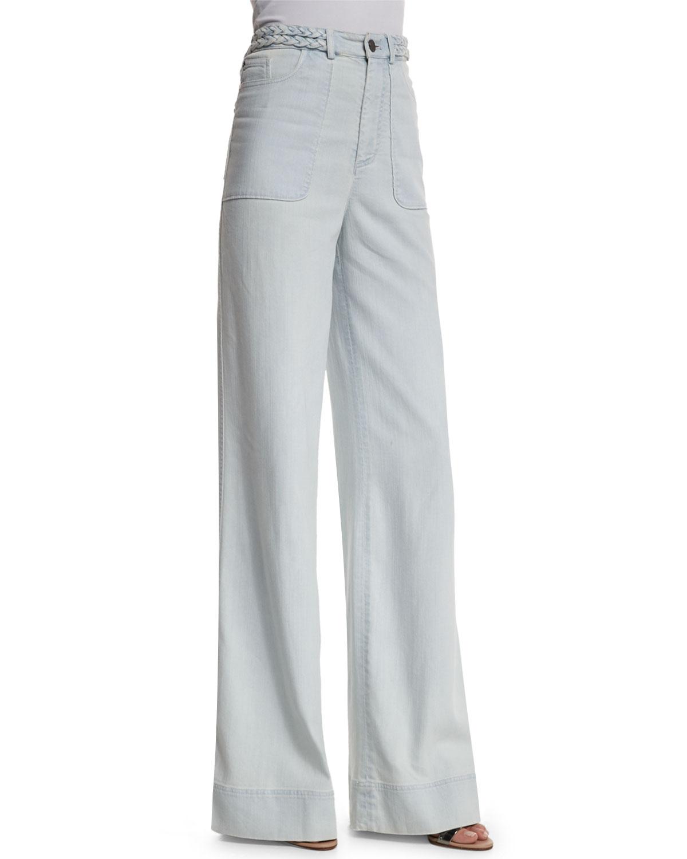 Alice + Olivia Juno High-Rise Wide-Leg Pants, Light Blue, Size: 25