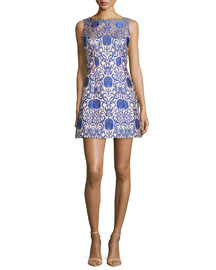 Carrie Structured Mini Dress, Blue