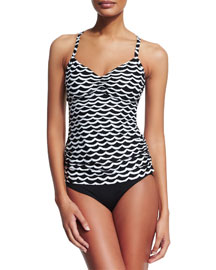 Tidal Wave DD Tankini Swim Top, Black/White