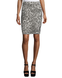 The Geneva Leopard Pencil Skirt, Steel Gray