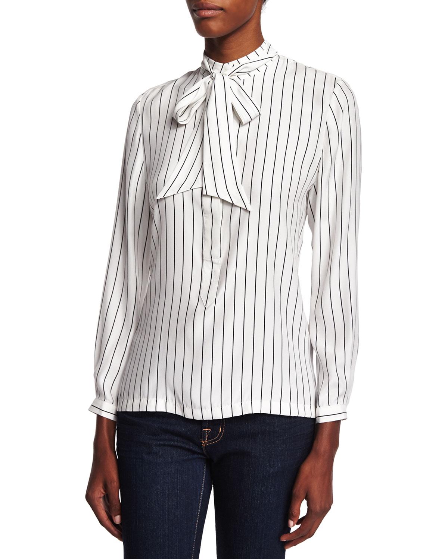 FRAME DENIM Le Tie Striped Popover Shirt, Noir Stripe, Size: S
