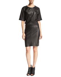 Le Leather Short-Sleeve Shirtdress, Noir