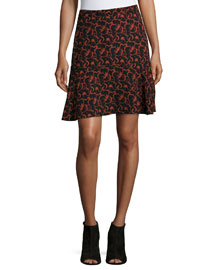 Parks Printed A-Line Skirt, Black/Rust
