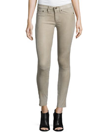 Suede Skinny Ankle Pants, Tan
