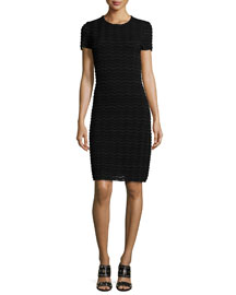 Short-Sleeve Wave-Mesh Sheath Dress