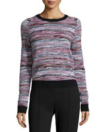 Lola Striped Pullover Sweater, Black Pattern