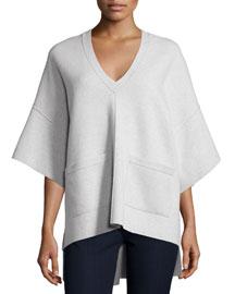 V-Neck Merino Sweater with Pockets, Oatmeal