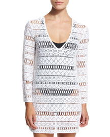 Mykonos Crocheted Long-Sleeve Tunic Coverup