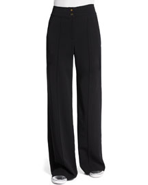 Debra High-Waist Wide-Leg Pants, Black