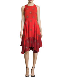 Elisa Sleeveless Printed Dress, Red Multi