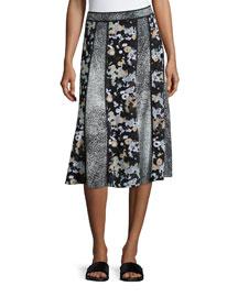 Moonmap Crepe de Chine Paneled Skirt, Black