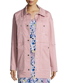 Stretch Cotton Twill Jacket, Pale Pink