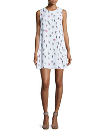 Sleeveless Chiffon Cactus Shift Dress, White