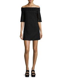 Lace Off-the-Shoulder Mini Dress, Black