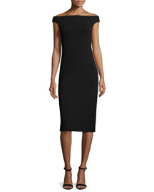 Ponte Off-the-Shoulder Midi Dress, Black