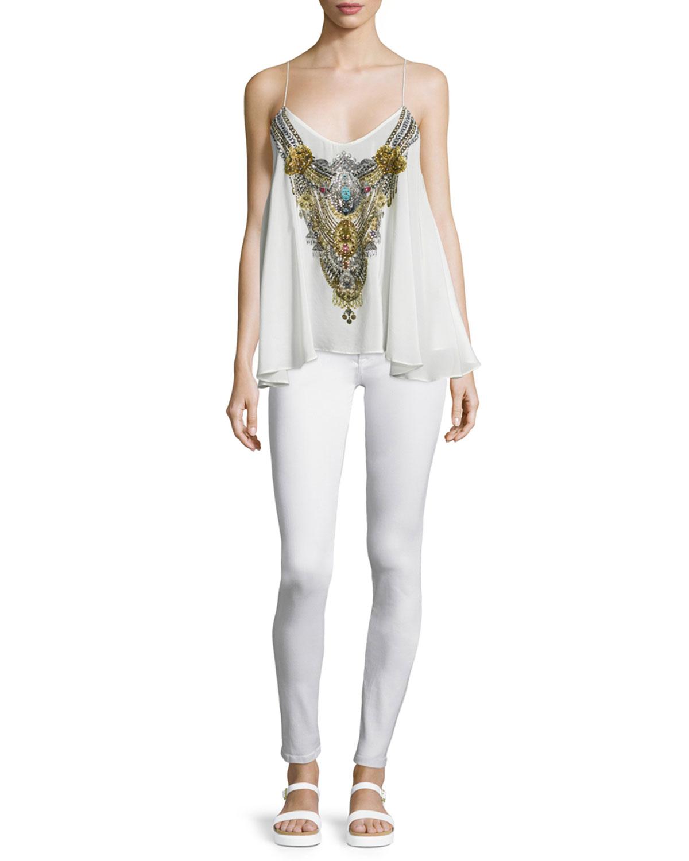 Camilla Sleeveless Embellished Flowy Top, White, Size: 2