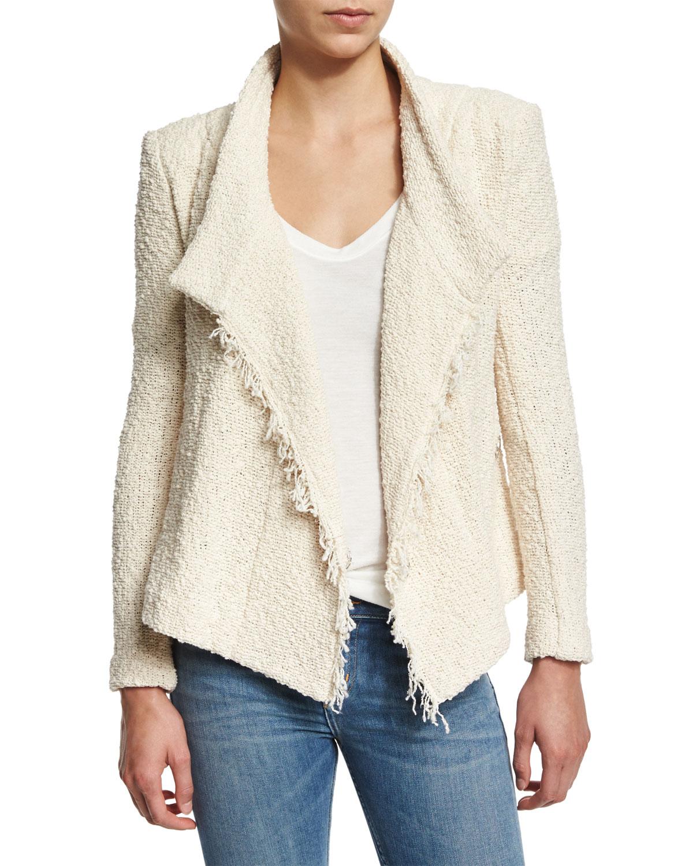 IRO Mira Cotton Moto Jacket, Ecru, Size: 40