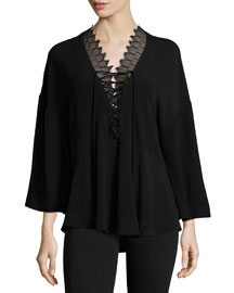 Emilda Knit Lace-Front Top, Black